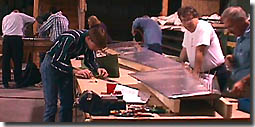 Building the rudder tail section at the factory workshop.