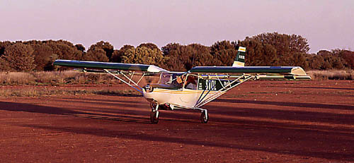 Taxiing on a dirt field in central australia